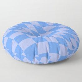 Warped Check Bright Blue  Floor Pillow