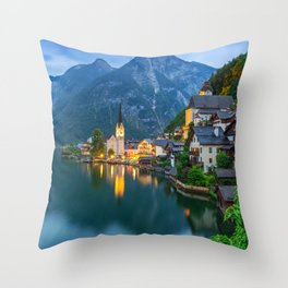 Hallstatt Village, Alps Throw Pillow