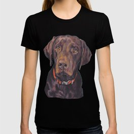 Chocolate lab LABRADOR RETRIEVER dog portrait painting by L.A.Shepard fine art T-shirt