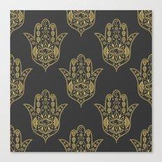 Gold Hamsa Hand Pattern Canvas Print
