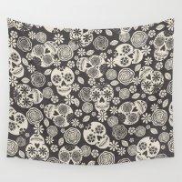sugar skulls Wall Tapestries featuring Sugar Skulls - Black & White by Bohemian Gypsy Jane