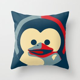 Linux tux penguin obama poster baby  Throw Pillow