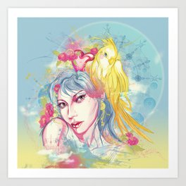 Parrot beauty going to a party Art Print