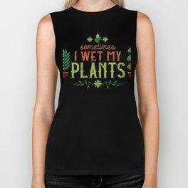 Funny Gardner I Wet My Plants Green Thumb Design Biker Tank