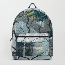 Winter birds in blue Backpack