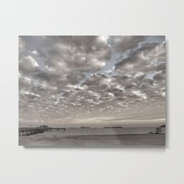 Caught in between a Pier and Lifeguard Tower Metal Print