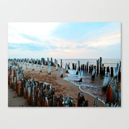 Water licks the Wharf's Remains Canvas Print