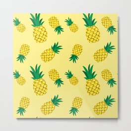 Cute pineapple hand drawn illustration on yellow background. Summer colorful tropical fruit.  Metal Print