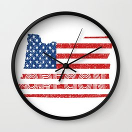 State Flag Of Oregon Vintage OR Map Gift Wall Clock