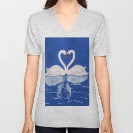 Beautiful Love Swans Unisex V-Neck
