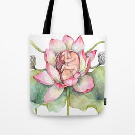 Cute Baby in a Lotus, Spring Blossom Tote Bag