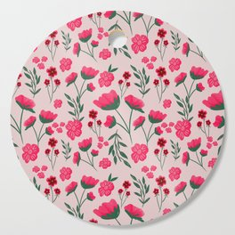 Pink Poppies Seamless Illustration Cutting Board