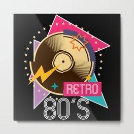 80s Retro Vinyl Disco Party Metal Print