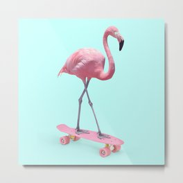 SKATE FLAMINGO Metal Print