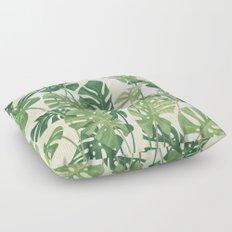 Vintage Monstera leaves Floor Pillow