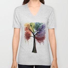 Happy Tree/Rainbow/Rainbow Color Design Unisex V-Neck
