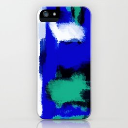 blue green and white painting texture with black background iPhone Case