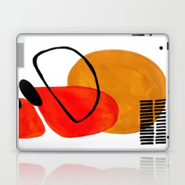 Mid Century Modern Abstract Vintage Pop Art Space Age Pattern Orange Yellow Black Orbit Accent Laptop & iPad Skin