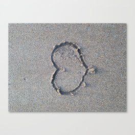 You, me and the sea. Love heart in the sand. Canvas Print