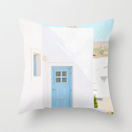 Colorful Blue Door and White Building in Oia Santorini Island Greece Throw Pillow
