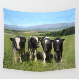 Curious Kiwi Cows Wall Tapestry