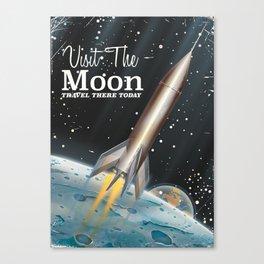 visit the moon vintage science fiction poster Canvas Print