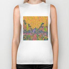 los angeles city skyline Biker Tank