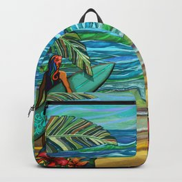 Vintage Hawaiian Surfer Girl Fine Art Print Backpack