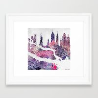 new york skyline Framed Art Prints featuring New York Skyline + Map by Map Map Maps