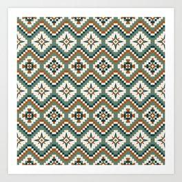 Aztec Tribal Pattern in Olive, Burnt Orange and Cream Art Print