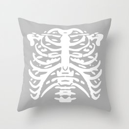 Human Rib Cage Pattern Gray 2 Throw Pillow