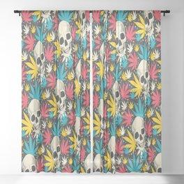 SKULL CANNABIS PATTERN Sheer Curtain