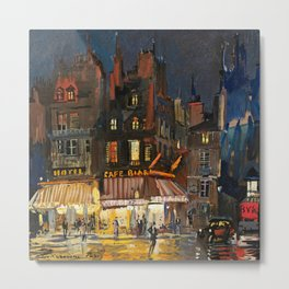 Paris, Cafes in Rue Lepic, Montmartre night landscape painting by Konstantin Korovin  Metal Print