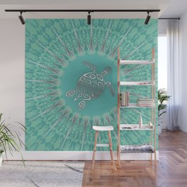 Turquoise Silver Turtle And Mandala Wall Mural