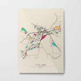 Colorful City Maps: Tallinn, Estonia Metal Print