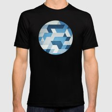 Abstract Geometry  Black 2X-LARGE Mens Fitted Tee
