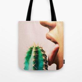 Cacti, Girl, Lips, Cactus decor, Pastel, Plant, Pink, Minimal, Interior, Wall art Tote Bag