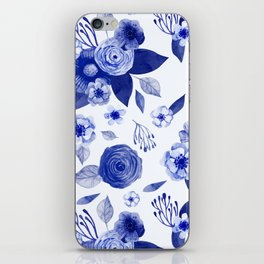 blue and white watercolor floral iPhone Skin