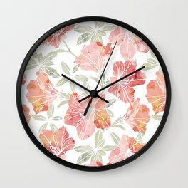 Peach pink azaleas Wall Clock