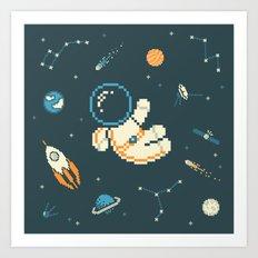 Lil Astronaut Pattern (8bit) Art Print