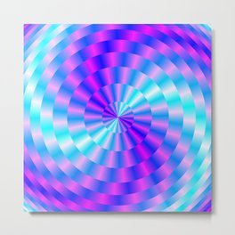 Spiral Rings in Pink and Blue Metal Print
