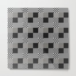Classic Black and White Country Patchwork Quilt Metal Print