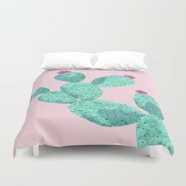 Cactus with pink flowers Duvet Cover