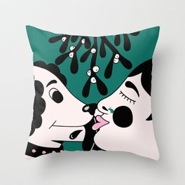 The dog and the girl Throw Pillow
