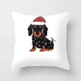 Christmas Dachshund Cute Dog Santa Hat Throw Pillow