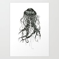 jellyfish Art Prints featuring Jellyfish by Aubree Eisenwinter