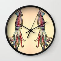 squid Wall Clocks featuring Squid by Irene Fratto Due