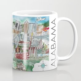 Cartoon Map of Birmingham, Alabama Landmarks Coffee Mug