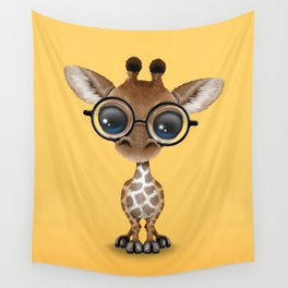 Cute Curious Baby Giraffe Wearing Glasses Wall Tapestry