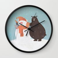snowman Wall Clocks featuring Snowman by Nadia Kovaliova